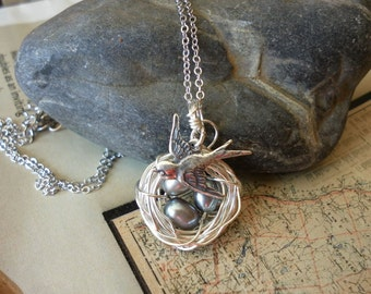 BIRD NEST NECKLACE Silver Freshwater Pearls Silver