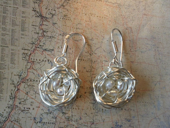 Bird Nest Earrings White Fresh water Pearls Sterling Silver