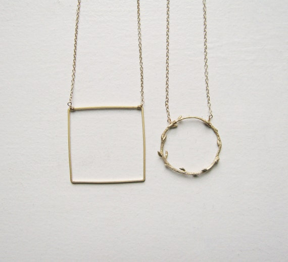 A Simple Square. Gold Filled Chain.