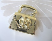 Silver Purse metal vintage brooch pin