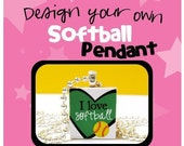 Design Your Own Softball Pendant  (Chain sold separately)