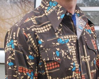Vintage Pearly Snap Panhandle Slim Western Shirt