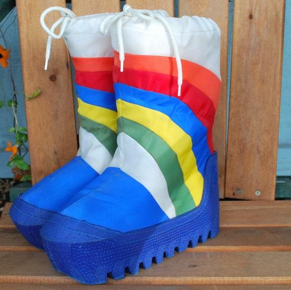 Vintage 80 S Rainbow Moon Boots