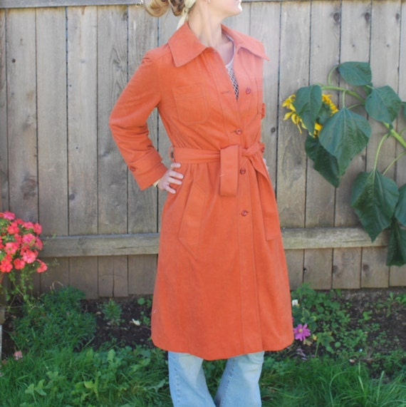 Vintage 70's Faux Suede Belted Trench Coat