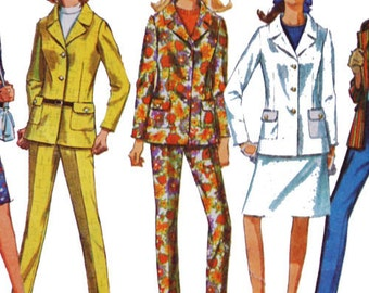 Misses' Jacket, Hip-hugger pants and skirt pattern. 70s,  Simplicity 6974, Size 12, Bust 32
