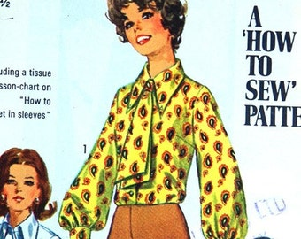 Blouses and Ascot Vintage Simplicity Pattern 8299, 60s, Size 12 Bust 34 Hip 25.5, Blouse ot shirt pattern, office fashion