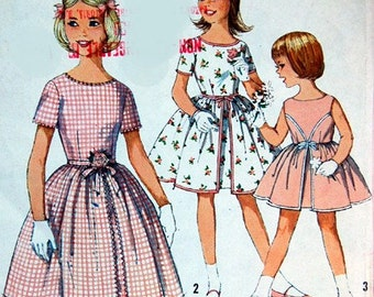 Girl's Vintage Dress Pattern, Simplicity 4366, Size 12, Bust 30, summer dress 60s, 50s look