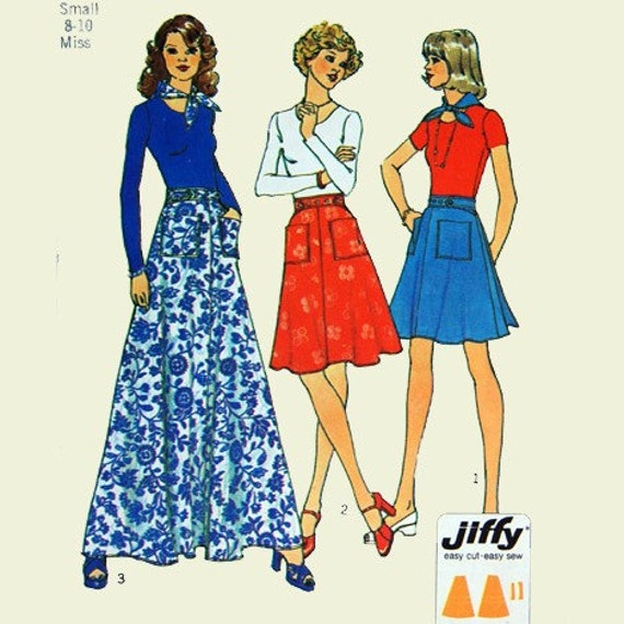 Skirt pattern, Misses jiffy back-wrap skirt in three lengths and scarf pattern, Simplicity 6789, Size small 8-10, Hip 34, Skirt pattern