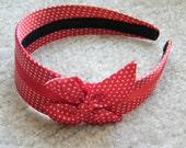 Vintage Pinup Red Polkda Dot Headhand W/ Bow