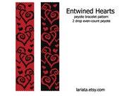 Entwined Hearts - 2 Drop Peyote Bracelet Pattern - INSTANT DOWNLOAD