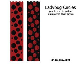 Ladybug Circles - 2Drop Peyote Bracelet Pattern - INSTANT DOWNLOAD