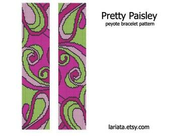 Pretty Paisley - Peyote Bracelet Pattern - INSTANT DOWNLOAD