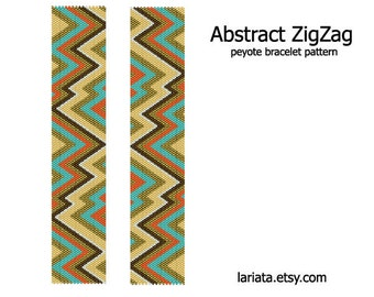 Abstract ZigZag - Peyote Bracelet Pattern - INSTANT DOWNLOAD