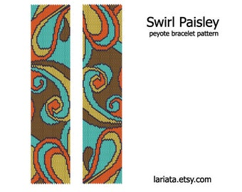 Swirl Paisley - Peyote Bracelet Pattern - INSTANT DOWNLOAD