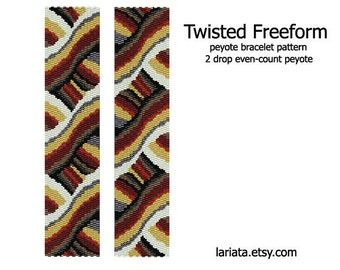 Twisted Freeform - 2Drop Peyote Bracelet Pattern - INSTANT DOWNLOAD