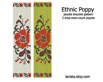 Ethnic Poppy - 2Drop Peyote Bracelet Pattern - INSTANT DOWNLOAD