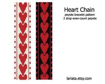Heart Chain - 2Drop Peyote Bracelet Pattern - INSTANT DOWNLOAD