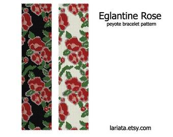 Eglantine Rose - Peyote Bracelet Pattern - INSTANT DOWNLOAD