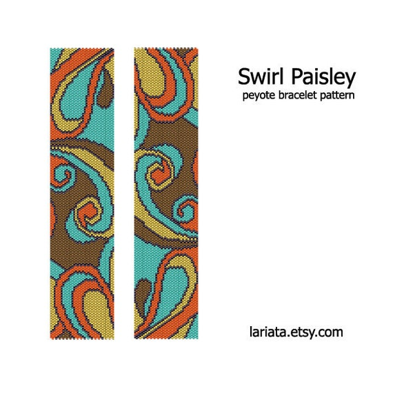 Swirl Paisley - Peyote Bracelet Pattern - INSTANT DOWNLOAD