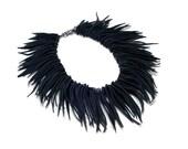Black Leather Statement Necklace. Fringe Bib Necklace. Bohemian Leather Jewelry. Womens Unique Gift. Big Bold Chunky Short Boho Necklace.