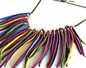 Leather jewelry multicolor  fringe bib necklace