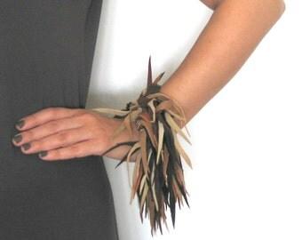 Boheme Fringe Cuff Leather Bracelet. Boho Chic Style