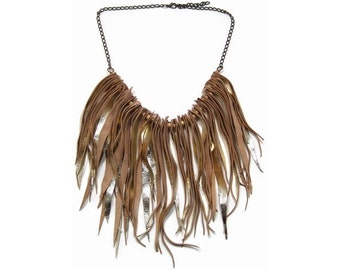 Golden Leather Fringe and Chain Collar Necklace. Boho Chic Style Gypsy Necklace. Statement Bib Necklace. Womens Gift. Hippie Necklace