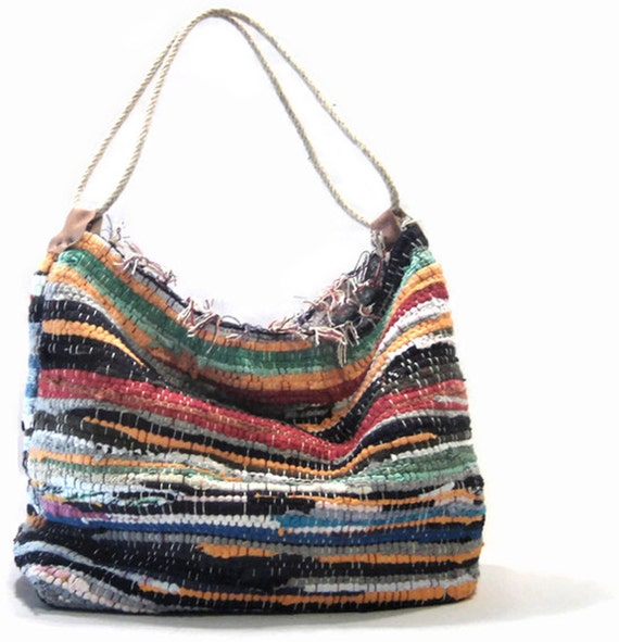 Boho chic shoulder kilim bag large