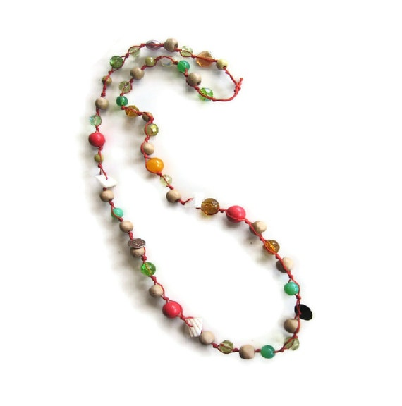 SALE long bead necklace in red and green