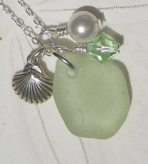 Seaglass Necklace in Pale Peridot Green -  A Cluster of Treasures Necklace