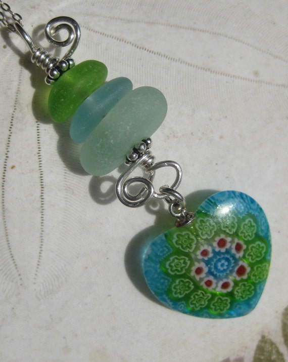 Sea Glass and Heart Necklace - The Stacking Heart - Blue and Green Seaglass