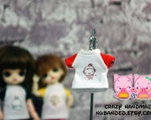 A099 - T-shirt for lati white Sp / pukipuki / felix brownie doll / obitsu 11 cms.