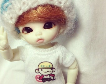 A112 - T-shirt for lati white Sp / pukipuki / felix brownie doll / obitsu 11 cms.