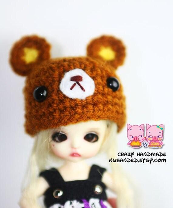 Bear hat for lati white / pukipuki / felix brownie doll