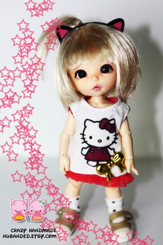 Lati yellow / pukifee Outfit (Red kitty dress, socks and black kitty headband)