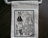 Vintage Wizard of Oz Dorothy and Scarecrow Muslin Party Favor Bag