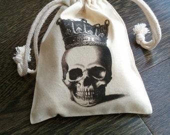 Skull Halloween Muslin Party Favor Bag