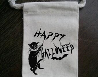 Black Cat Halloween Muslin Party Favor Bag