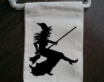 Witch Halloween Party Muslin Favor Bag