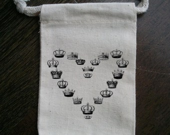 Crown Heart Muslin Party Favor Bag