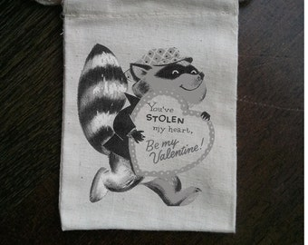Retro Raccoon Valentine Muslin Party Favor Bag