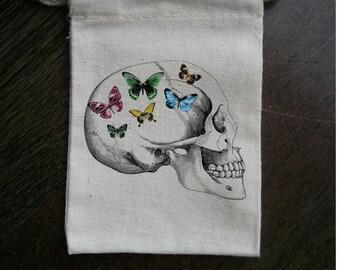 Butterfly Skull Spring Muslin Party Favor Bag