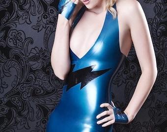 Latex Rubber Halterneck 'Lightening' Mini Dress