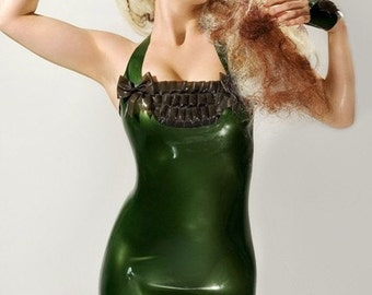 Super shiny deep Metallic Green Latex halter neck dress with ruffles and bows