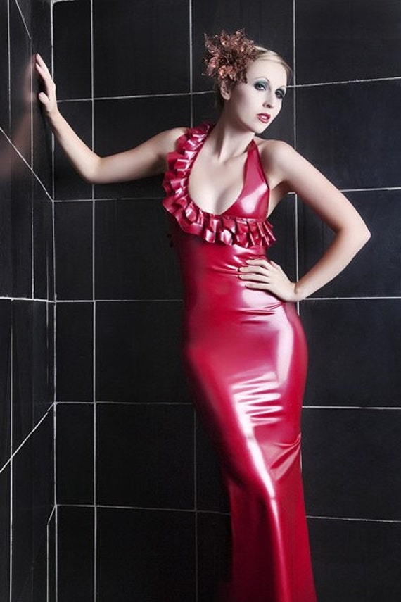 Latex Rubber Halterneck long dress with ruffles