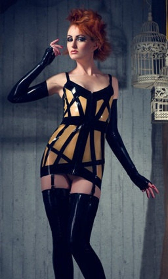 Latex Rubber Cage dress with suspenders