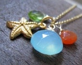 Sea Star necklace-aqua blue chalcedony, carnelian, peridot, vermeil starfish charm