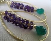 Green onyx and purple amethyst Hoop earrings- cascade, wire wrapped, grape vine, gemstone large hoops earrings