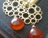orange chalcedony Earrings, bubble earrings, gold chandelier earrings