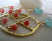 Golden window chandelier earrings-corals and aqua blue chalcedony